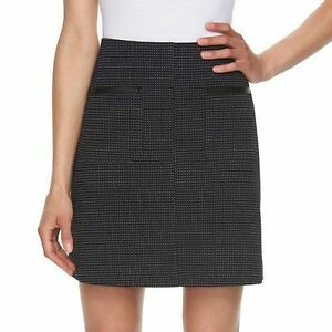 ELLE-Black-Dot-Pindot-A-Line-Mini-Skirt-Fresh-Blooms-Women-039-s-Size-XL-16-XXL-New