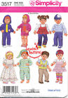 """SIMPLICITY SEWING PATTERN 3517 15"""" (38CM) BITTY BABY BOY/GIRL TWIN DOLL CLOTHES"""
