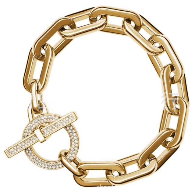 Silver/Gold/Rose Gold Tone Charm Pave Full Crystal Toggle Brand Bracelets