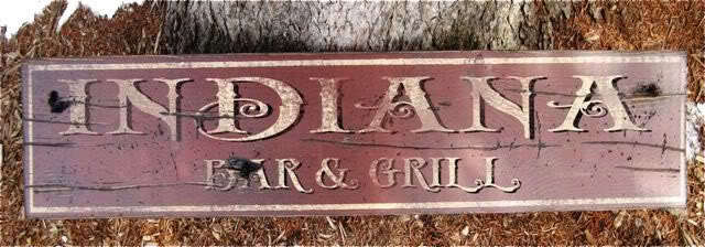 INDIANA BAR & GRILL Rustic Painted Wooden Sign