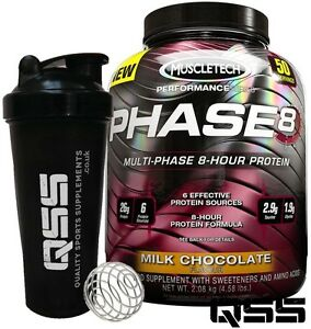 172cf5429 MUSCLETECH PHASE 8 4.5 LBS 50 SERV 8 HOURS SLOW RELEASE WHEY PROTEIN ...