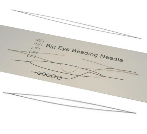 Big Eye Beading Needle long 10cm Edelstahl Nähnadeln 100mm x 0,3mm Y10