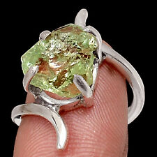 Green Amethyst Rough 925 Sterling Silver Ring Jewelry s.6.5 RR33620