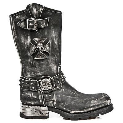 New Rock M.MR030-S1 Strap Skull Metalic Black Biker Goth Leather Boots