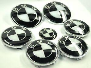 7-set-82-82-45-4x68-BMW-Noir-Blanc-Insigne-Capot-Coffre-Volant-Enjoliveur-roue