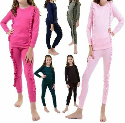 Girls Children/'s Duel Ruffle Frill Tracksuit Kids Co ord Loungewear Jogger Set