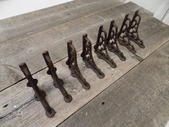 "Set of 8 Extra Large Cast Iron Expresso Scroll Shelf Bracket Brace 9/"" x 9/"""