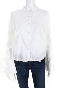 BCBGMAXAZRIA-Womens-Long-Sleeve-Button-Down-Blouse-Top-White-Size-Small