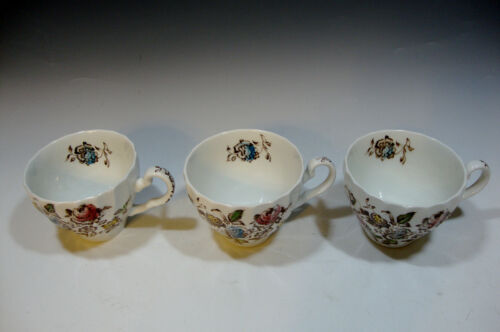 Johnson Bros Devon Sprays Pattern Tea Cup England Brown//Blue//Pink Rose//Green