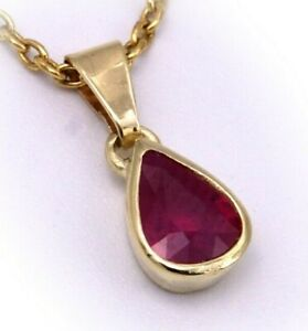 Damen-Anhaenger-echt-Rubin-Tropfen-echt-Gold-585-14-karat-Gelbgold-Qualitaet-Neu