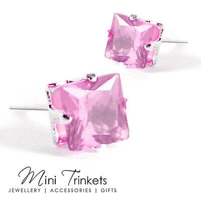 Men's Women's Stainless Steel Cubic Zirconia Crystal Square Stud Earrings Gift