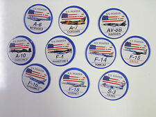 U.S. FIGHTER JETS/PLANES A-6, A-7, AV-8B, A-10   POGS/MILKCAPS SET OF ALL (10)