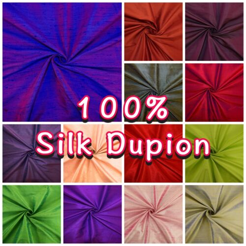 100/% Silk Dupion Natural Slub Luxury Occasion Colour Shot Dressmaking Fabric