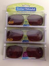 e34e7f87a9 3 SOLAR SHIELD Clip-on Polarized Sunglasses Size 52 Rec 1 Brown Lens Full  Frame