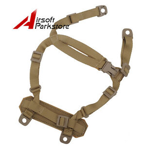 Tactical-MICH-ACH-Helmet-Retention-System-H-Nape-Chin-Strap-Airsoft-Hunting-Tan