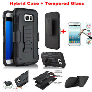Impact-Heavy-Duty-Hybrid-Case-Belt-Clip-Stand-Tempered-Glass-Film-For-Samsung