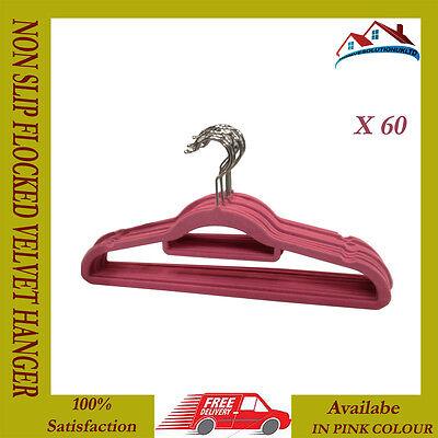 60 X Nuovo Rosa Non Slip Hanger Velluto Floccati Cappotto Panno Pantaloni Da Appendere Grucce-mostra Il Titolo Originale