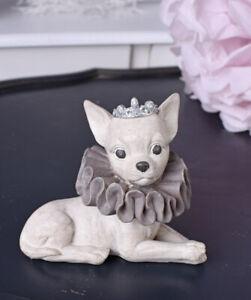 Tierfigur Chiwawa Figur Hundefigur Chihuahua Welpe Skulptur Hund Dekofigur Krone