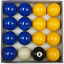 """with 1 7//8/"""" Cue Ball Blue And Yellow Standard 2/"""" Pool Balls Pub Grade 16 Piece"""