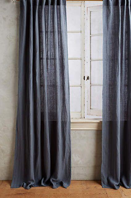 Anthropologie Navy Linen Cotton Curtains 50x108 2 Panels