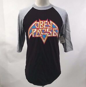 59c26ee7 Obey Men's Baseball T-Shirt American Metal Black/Grey Size M NWT ...