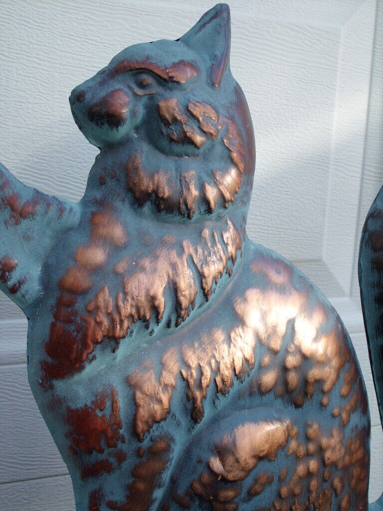 Cat Weathervane Antiqued Copper Finish Kitten Mouse Weather Vane Hand Crafted