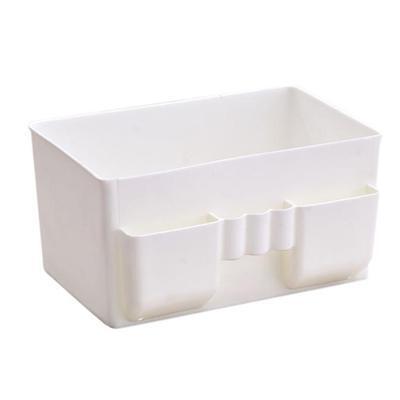 Plastic Office Desktop Storage Boxes Makeup Organizer Storage Box White 1