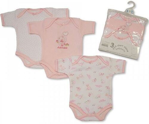 Lovely Pink Girls 3 Pack Short Sleeves Env Neck Cotton Bodysuit 100% COTTON
