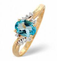 Blue Topaz Ring Diamond Ring Engagement Ring Yellow Gold Ring Dress Ring