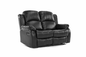 Classic Double Reclining Loveseat Bonded Leather Living Room