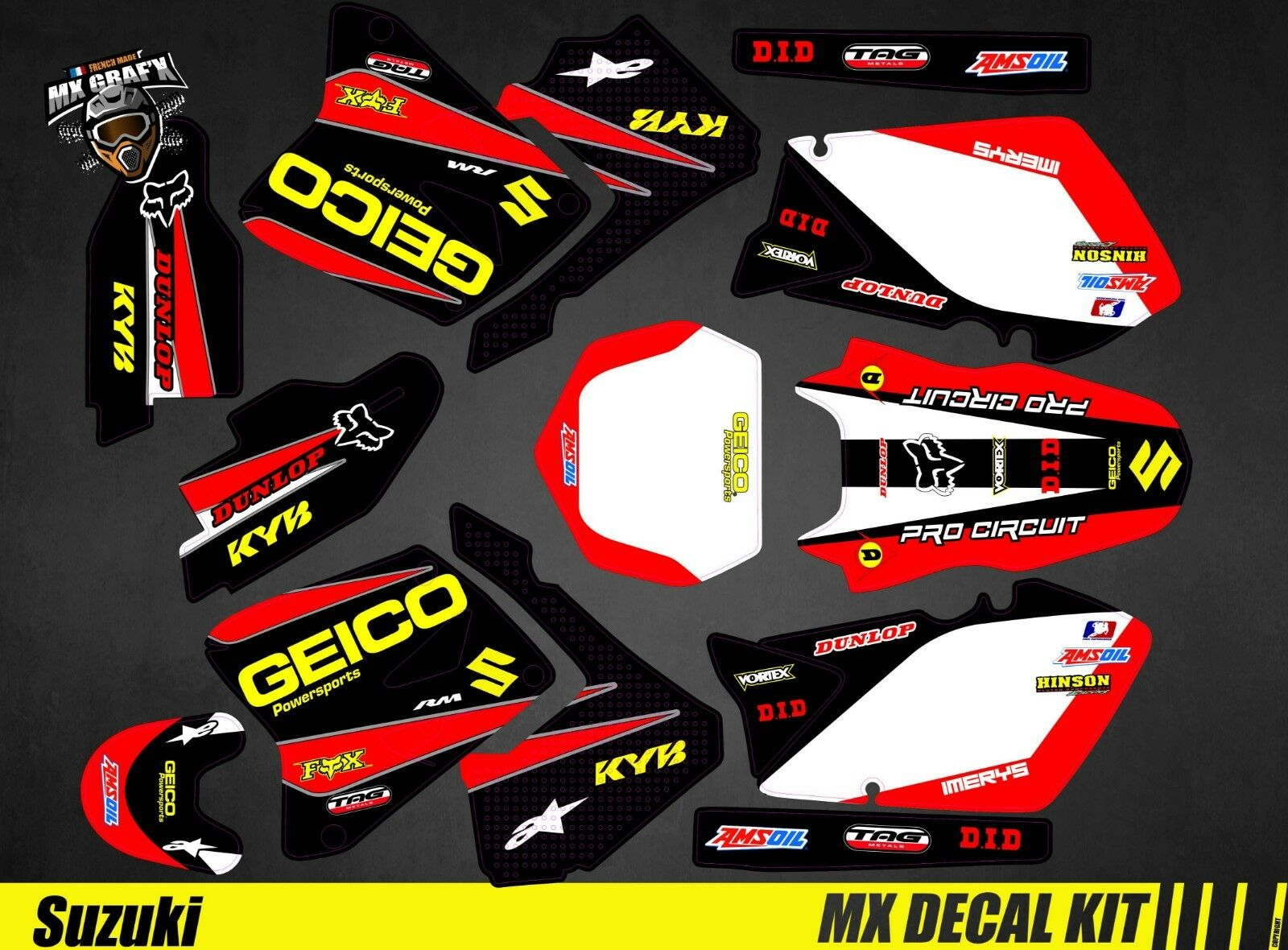 Kit Déco Moto pour / Mx Decal Decal Decal Kit for Suzuki RM 125 / 250 - Geico da43dd