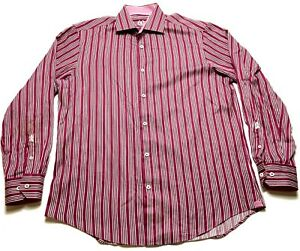 Bugatchi-Uomo-Mens-Red-Vertical-Striped-Button-Front-Long-Sleeve-Shirt-Size-XL