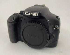 Canon-EOS-550D-18-0-Mp-Numerique-SLR-Camera-Corps-Seulement-Utilisee-Endommage-ecran