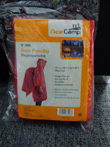 rot Regenponcho AceCamp Einheitsgröße mt Kopfbedeckung 132cm x 203 cm 52x80