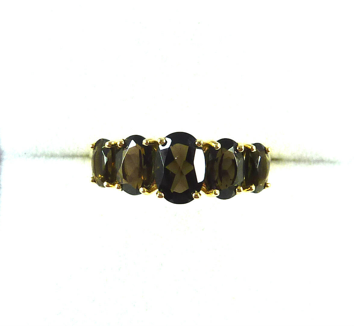 2.15 ctw Natural Smoky Topaz Solid 10k Yellow gold Ring US (7) AU (O)