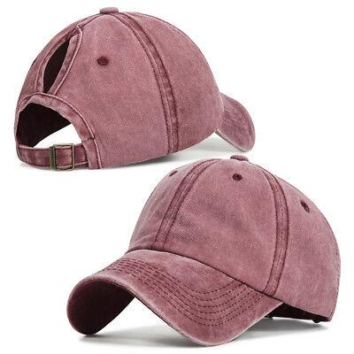 Women Ponytail Baseball Hat Messy Bun Breathable Hole Retro Sport Cap Beauty