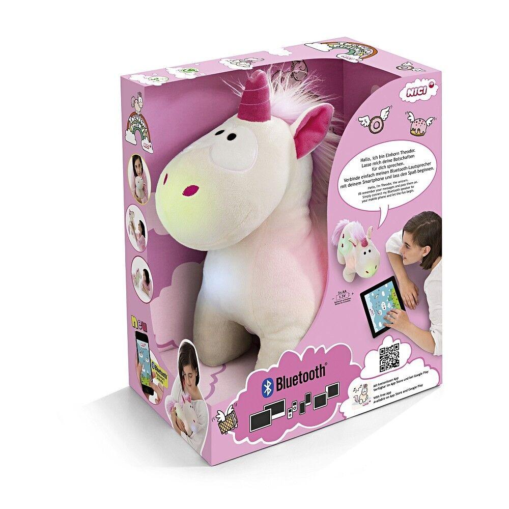 NICI Peluche 32cm Unicorno Cuddly Theodor con Altoparlante + LED + blueetooth