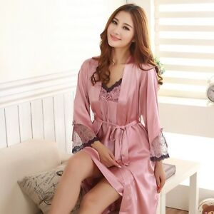 New Sexy Womens Silk Satin Pajamas 2PC Sleepwear&Robes Nightdress Nightgown