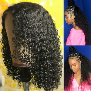 Hot-13X6-Lace-Front-Wig-Afro-Kinky-Curly-Wavy-9A-1B-Peruvian-Raw-Human-Hair-Wig