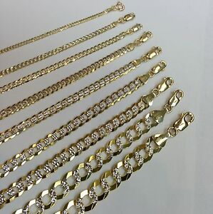 1.5-9.5MM14K SOLID YELLOW GOLD D/C CUBAN LINK WOMEN/MENS NECKLACE CHAIN 16-30