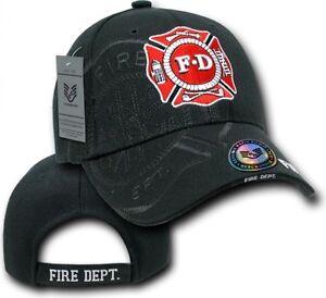 Fire Department Ball Cap Black Rescue Shadow Hat Teams US Heroes ... d8b22512461