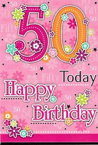 Image Is Loading Female Traditional Open Happy 50th Birthday Card 50