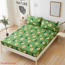 Floral Printed Fitted Sheet Twin Full Queen King Cotton Bed Sheet Cover 3 Size