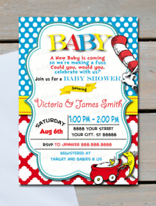 Dr Seuss Baby Shower Invitations 10 5x7 Printed Ebay