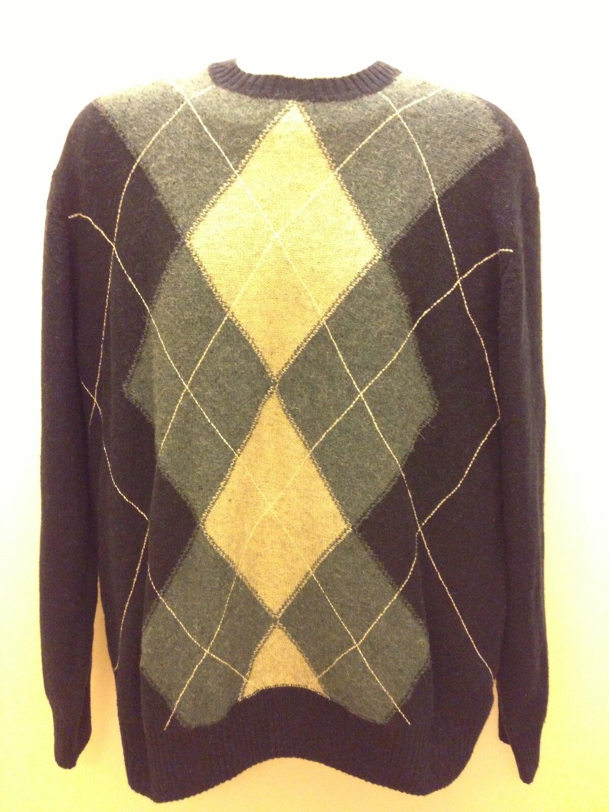 Sonoma Life Style Fancy Warm Sweater XL Shady Navy Diamond Blau Lambs Wool  60