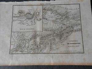 1836 NAPOLEONIC WAR ALGERIA CONSTANTINE PLAN OF CITY AND OF SPEDITION AFRICA