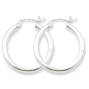925-Sterling-Silver-Rhodium-Plated-2-5mm-x-27mm-Polished-Hinged-Hoop-Earrings