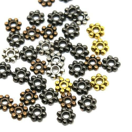 Tibétain Fleur Spacer Perles 5 mm Mélange 70 pcs Art Hobby Fabrication de Bijoux Artisanat