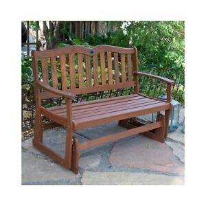 Wood glider bench outdoor patio furniture garden deck for Front porch patio furniture