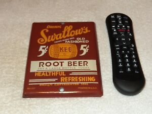 VINTAGE-SWALLOW-039-S-ROOT-BEER-5-CENTS-W-WOOD-KEG-7-034-PORCELAIN-METAL-SODA-POP-SIGN